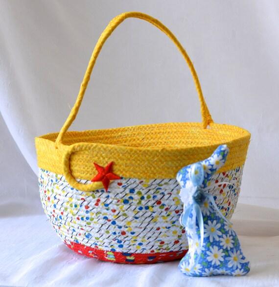 Boy Easter Basket, Handmade Easter Bucket, Baby Boy First Basket, Boy Easter Egg Hunt Bucket, Red Coiled Fabric Basket