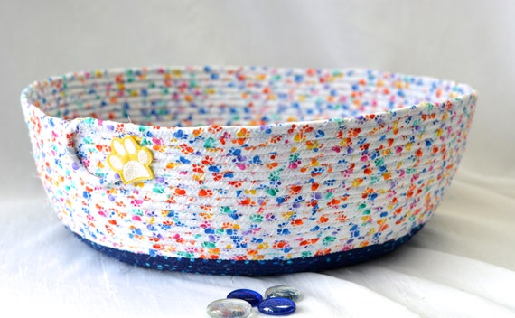 Cat Bed Furniture, Handmade Coiled Pet Bed, Toy Organizer, Artisan Quilted Basket, Modern Blue Cat Bed, Dog Bed, Pet Paw Fabric Bowl