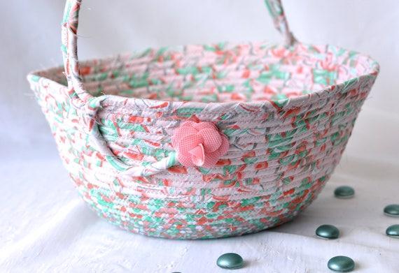 Handmade Easter Basket, Peach Easter Decoration, Girl Easter Bucket, Peach Wedding Card Basket, Baby Girl First Easter Basket, Artisan