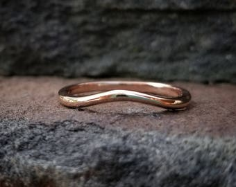 Rose Gold Wedding Band Women 14K Rose Gold Band Gold Contour Wedding Band Rose Gold Wedding Bands Women Curved Wedding Band Contour Band 14K