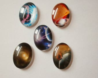 4 - Set of 5 stars 25 * 18 mm glass dome cabochons