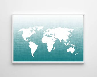 Map Wall Art , Teal Office Wall Art , Nursery Art Boy Blue World Map Poster , Large Wall Art Map , Ombre Map Art , Travel Wall Decor