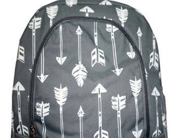Personalized  Girls Backpack,  Gray Arrows Backpack, Girls Grey Backpack