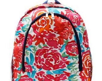 Personalized  Girls Backpack,  Floral Backpack, Girls Backpack, Monogrammed Backpack, Embroidered Backpack