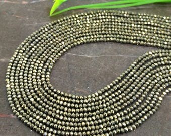 Natural Pyrite 2-2.5mm Micro Faceted Rondelle Gemstone Beads / Approx 180 pieces on 14 Inch long strand / JBC-ET-147628