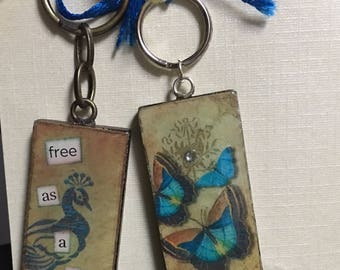 Altered art keyring, peacock or butterfly, handmade, proceeds to charity