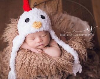 READY to SHIP - Chicken Hat - Baby Hat -  Baby Chicken Hat - Chicken Little Hat - Soft Baby Costume Hat - by JoJosBootique