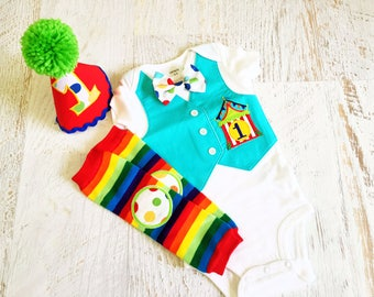Circus Time First Birthday Bodysuit Vest with Matching Removable Bow Tie