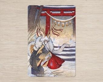 The Summit Gate / Deer Kirin Qilin Yokai / 4x6 Glossy Postcard Rounded Corners