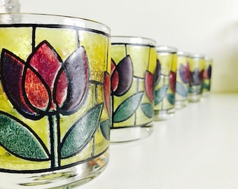Vintage Stained Glass Tulip Glassware - Set of 6