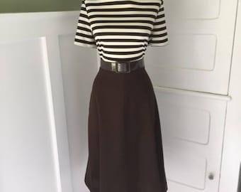 Vintage 1960s Dress / 60s Striped Twiggy Dress / Mad Men Secretary Shirt Dress/  Short Sleeve Shift Dress/ Mod GoGo Scooter Dress