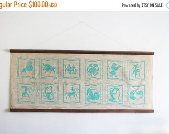 25% OFF Vintage Zodiac Sign Wall Hanging / 70's / Astrological sign wall decor hippie boho / mid century decor