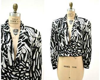 SALE Vintage Sequin Jacket Black White Size Large with Zebra Animal Abstract // Vintage Black Cropped Sequin Beaded Jacket Zebra By Modi Lar