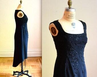 SALE Vintage Black Beaded Dress// 80s VIntage Beaded Dress with High Low Hem Size Medium by Bizar