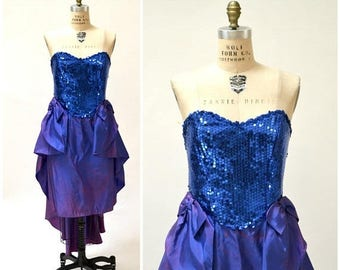 SALE 80s Prom Dress Medium Large Blue Sequin Metallic Dress Strapless 80s party// 80s Vintage Pageant Party Dress by Flirtations Ombre