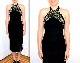 SALE 90s Prom Dress in Black Velvet Dress X Small// Vintage Evening Gown Black Velvet with Halter Top XS