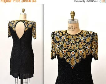 SALE Vintage Beaded Dress Size Medium Large Black and Gold Art Deco// 90s Metallic Vintage Sequin Dress Flapper Inspired By Laurence Kazar