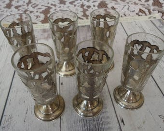 Set of 6 Vintage Mexico Etched Sterling Silver Aperitif or Shot Glasses, JLG