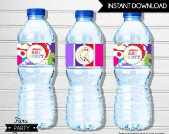 Art Birthday Party PRINTABLE Water Bottle Labels by Fara Party Design | Art Theme Party