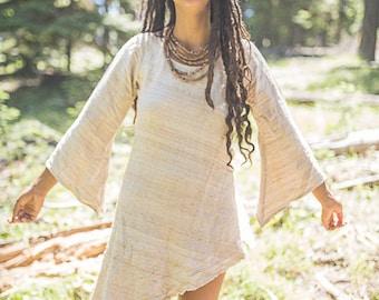 Asymmetrical Long Sleeves Dress ~ Raw Silk