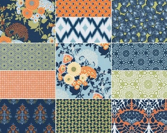 SALE 10% Off - FAT QUARTER Bundle (Fountain palette)  - Botanique - Joel Dewberry  - Free Spirit Fabric - 12 fat quarters