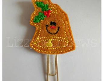 Planner clip, bookmark, planner feltie clip, felt bookmark, Christmas bell feltie clip, christmas clip, gold paper clip, Christmas in July