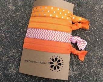 Knotted elastic hair tie- ponytail holder - orange with silver dots, prange, orange chevron, orange