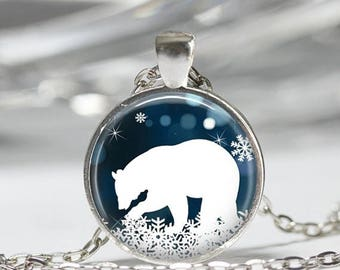 ON SALE Polar Bear Necklace Christmas Jewelry Blue and White Snowflake Art Pendant in Bronze or Silver with Link Chain Included