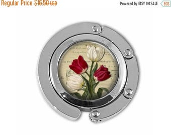 ON SALE Red and White Tulips Spring Garden Flowers Mother's Day Purse Hanger Purse Hook Hand Bag Holder Umbrella Hanger