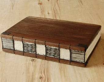Wood Wedding Guest Book or Unique Journal Black Walnut Wood Cabin vacation home Guestbook book lover gift  memorial book - ready to ship