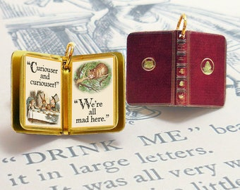 Alice in Wonderland by Lewis Carroll - Miniature Book Charm Quote Pendant - for charm bracelet or necklace. Custom available!