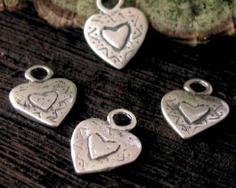 Small Sterling Silver Heart Charms - 2 Gingerbread Stamped Hearts AP56