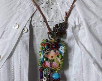 Boho Necklace, Gypsy Necklace, Necklace Upcycled Jewelry, Fabric  Necklace, Boho Style, Upcycled Sari Silk, Vintage style Necklace, OOAK,