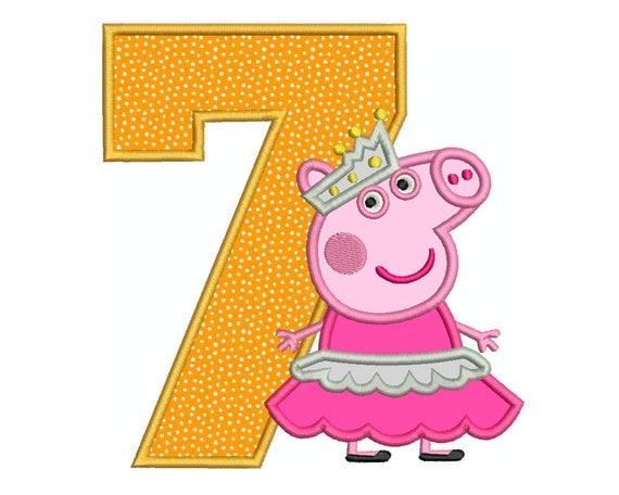 PEPPA PIG Ballerina Number 7 Birthday Tshirt Bag Machine
