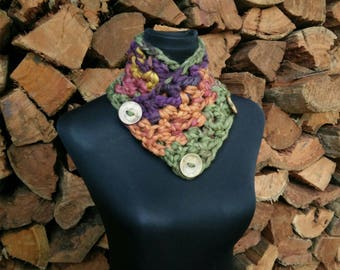 neck warmer/wrap, chunky crochet, button up, in purple, orange, green, pink & yellow, cowl, scarf, snood - READY TO SHIP