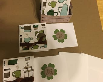 Handmade Coffee Mini 6 notes cards, small stationery cards with envelopes, 3X3 blank mini cards with envelopes