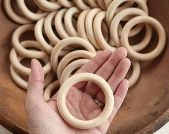 Macrame Rings - Chunky Wood Rings for Crafts, 3 Pcs.