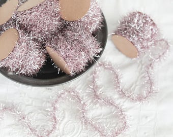 Tinsel Garland - Silvery Pink Vintage Style Christmas Trim, 12 Foot Spool
