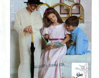 Simplicity 7834 Sewing Pattern for Disney's Peter Pan Wendy, John and Michael Sleepwear Costumes - Uncut - Size Medium 6-8