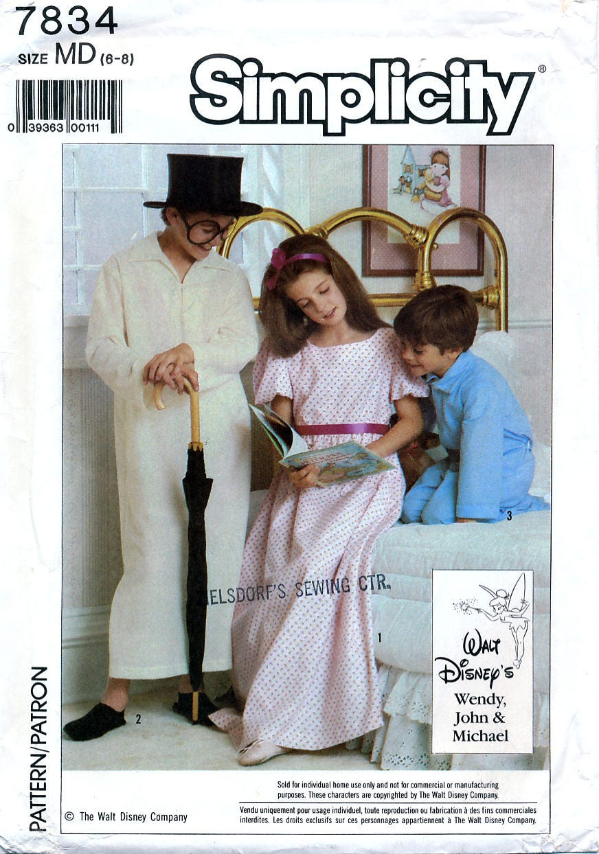 Simplicity 7834 sewing pattern for disneys peter pan wendy john sold by retrowithlana buycottarizona