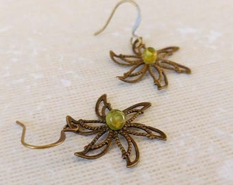 Antiqued Brass Cut Out Star with Green Peridot Accent, Dangle Earrings