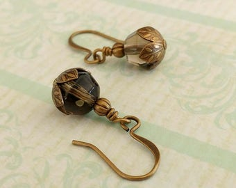 Smokey Taupe Faceted Glass beads on Gold Plated Brass Earwires and Accents