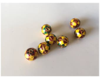 SALE Yellow and Red Geometric Floral spheres  - Floral Cloisonné Meena beads (2) 10mm