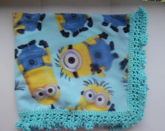 crochet fleece baby blanket, baby blanket, minion blanket, newborn, christmas, baby shower