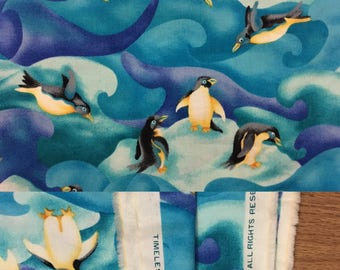 1999 Timeless Treasures Penguin Very Soft Cotton Fabric - 2 Yards