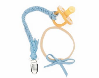 Pacifier Clip and headband set/ Light Blue Braided Pacifier Clip/Baby Girl Gift Set/Baby Gift Headband Binky/Nylon baby headband/Nylon Bow