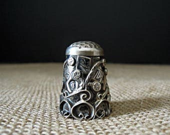 Vintage Sterling Silver Thimble / .925 Silver Thimble / Sewing Accessories / Sterling Silver Mexican Thimble / Flowers