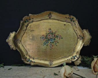 Vintage Wood Italian Florentine Tray / Antiqued Gold Gilt / Hand Painted Flowers / Italian Tole