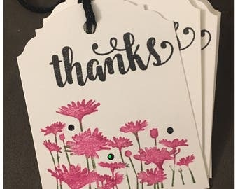 Handmade Thank You Gift Tags Pink Watercolor Flowers  set of 8