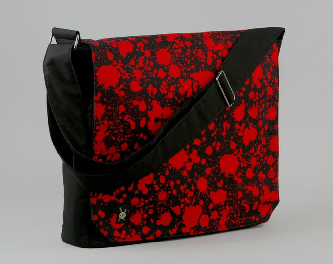 Blood Splatter Large Black Canvas Messenger Bag, 13 - 15 Inch Laptop, Tablet Phone Zipper Pockets, Ready To Ship